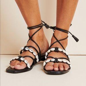 Anthropologie Puka Tie Strappy Sandals